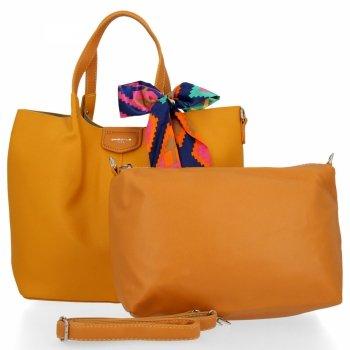 David Jones Torebka Damska XL Shopper Bag z Listonoszką Żółta