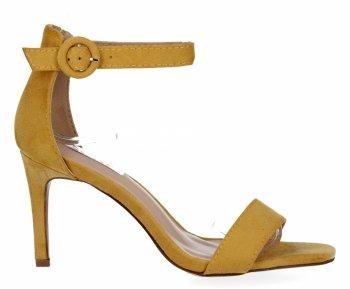 Żółte sandały damskie na obcasie firmy Bellucci