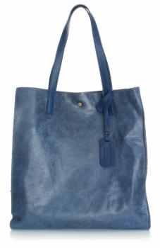 Torba Skórzana Shopper Bag z Kosmetyczką Granat