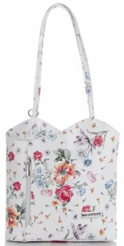 Uniwersalna Torebka Skórzana firmy Vittoria Gotti Made in Italy we wzory Kwiatów Multikolor Biała