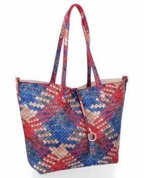 Torebka Damska Shopper Bag Venere Listonoszka Szara/Beżowa