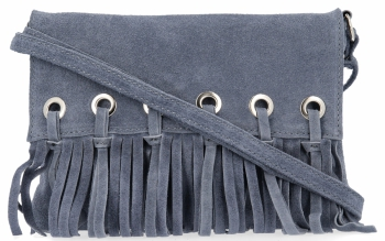Vittoria Gotti Made in Italy Rewelacyjna Listonoszka Skórzana w stylu Boho Jasny Jeans