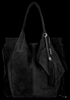 Modna Torebka Skórzana Zamszowy Shopper Bag w Stylu Boho firmy Vittoria Gotti Czarna