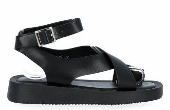 Czarne sandały damskie na platformie firmy Givana