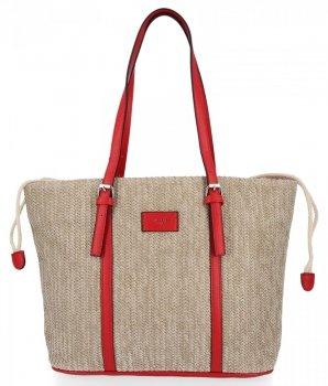 Ratanowe Torebki Damskie Shopper Bag firmy David Jones Czerwona