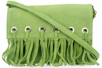 Vittoria Gotti Made in Italy Rewelacyjna Listonoszka Skórzana w stylu Boho Jasno Zielona