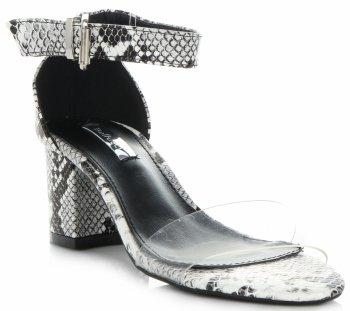 Modne Sandały Damskie na obcasie firmy Bellucci Biało-Czarne