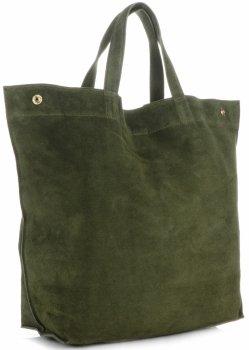 Włoski Skórzany Shopper XL firmy Vera Pelle Zielony