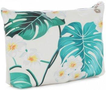Firmowe i Modne Kosmetyczki w rozmiarze L marki David Jones wzór w kwiaty Multikolor Zielona