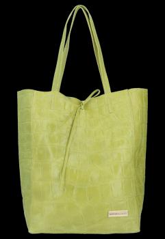 Vittoria Gotti Włoski Shopper XL Uniwersalna Torba Skórzana do noszenia na co dzień z modnym motywem Żółwia Limonka