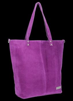 Uniwersalna Torebka Skórzana Shopper Bag firmy Vittoria Gotti Fioletowa
