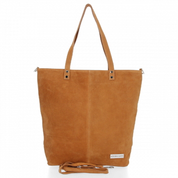 Uniwersalna Torebka Skórzana Shopper Bag firmy Vittoria Gotti Ruda