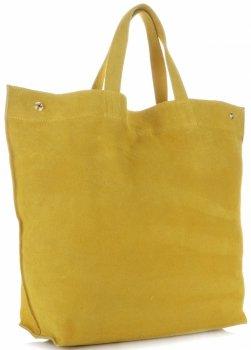 Włoski Skórzany Shopper XL firmy Vera Pelle Żółty