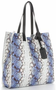 Vittoria Gotti Ekskluzywny Firmowy Shopper XL produkcji Włoskiej w modny wzór węża Niebieski