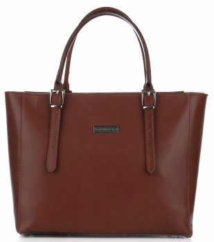 Vittoria Gotti Klasická Kožená taška Veľkosť XL hnedá