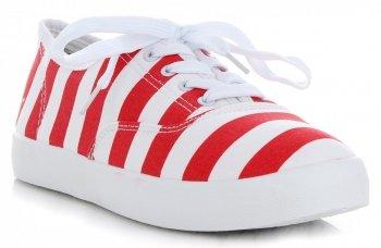 Módne Dámske pruhované tenisky značky Marquiz červený