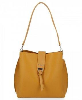 Dámska taška Davida Jonesa s tromi bunkami je ideálna pre každodennú žltú farbu