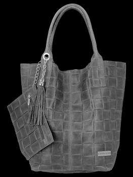 Módne kožené Shopper taška XL tašky s Vittoria Gotti šedá taška