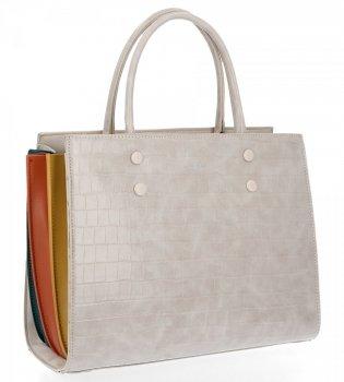 Elegantná dámska taška s korytnačkovým vzorom David Jones svetlo šedá