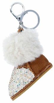 Kľúčenka na tašky topánky s kamienkami zemité biele
