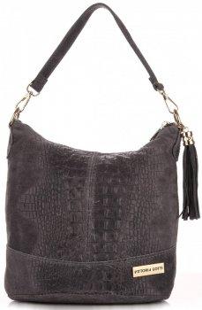 Kožené kabelky VITTORIA GOTTI vyrobené v Taliansku aligátor Grey