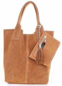 Talianska Kožená Taška Shopper Bag Pravá Červená Semiš
