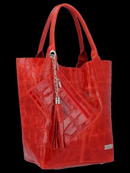 Univerzálna Kožená taška XL Shopper taška v Vittoria Gotti zviera tému červená