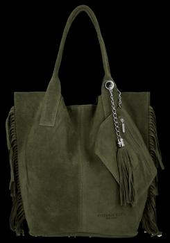 Módna kožená nákupná taška vyrobená zo semišu v Boho štýle od Vittoria Gotti tmavo zelená