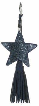 Obojstranné hviezdy zirkónia Kľúčenka s hrubým strapcom Tmavo modrá