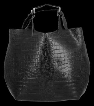 Exkluzívna talianska nákupná Kožená taška Vittoria Gotti v módnom aligátorovom dizajne s čiernou kozmetickou taškou