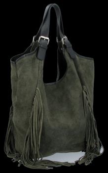 Módna kožená taška Shopper s okrajmi od Vittoria Gotti Khaki