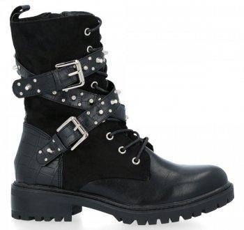 Čierne dámske členkové topánky s Holly prackami