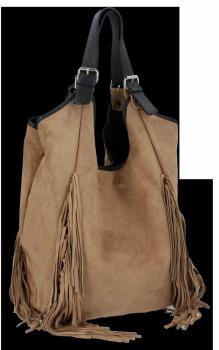 Módne kožené tašky Shopper Bag so strapcami od Vittoria Gotti Ziemista