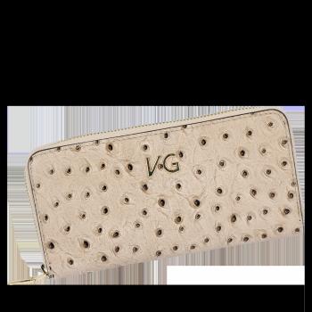 Vittoria Gotti Kožená peŘaženka pre ženy v štýle pštrosa, vyrobená v Taliansku zemitá