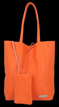 VITTORIA GOTTI módne kožené tašky Shopperbag s taškou oranžová