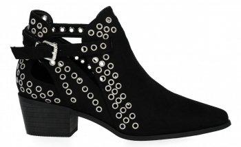Čierne dámske kotníkové topánky s podpätkami Bellucci