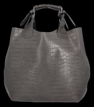 Exkluzívna talianska nákupná Kožená taška Vittoria Gotti v módnom Aligátore s kozmetickou taškou šedá