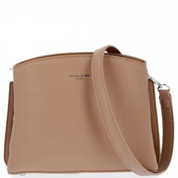 Elegantná dámska dvojkomorová taška na posol pre všetky príležitosti David Jones dark beige