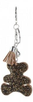 Kľúčenka pre peŘaženku módny medveď s kamienkami tmavo béžová