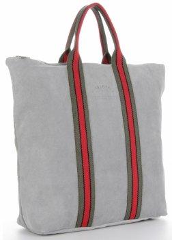 Vittoria Gotti módne pruhované kožené tašky značkové Kupujúci vyrobené v Taliansku s funkciou batohu Svetlo šedá