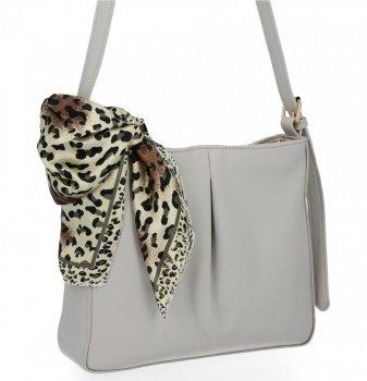 Elegantná dámska taška s šatkou na krk od Herisson svetlo šedá