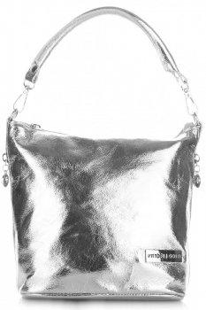 VITTORIA GOTTI vyrobené v Taliansku elegantné kožené Messenger Bag Silver