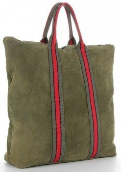 Vittoria Gotti módne pruhované kožené tašky značkové Shopper vyrobené v Taliansku s batohom funkcie Zelená