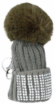 Kľúčenka na tašky módne klobúk s kamienkami šedej