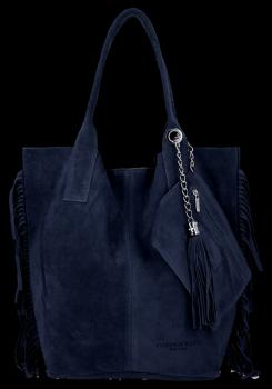 Módna kožená nákupná taška vyrobená zo semišu v Boho štýle od Vittoria Gotti