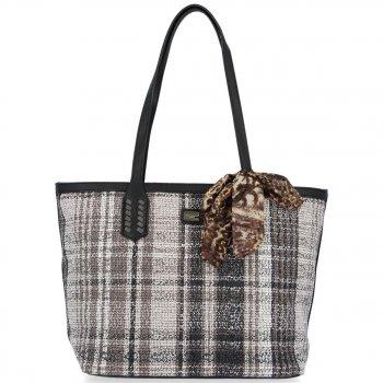David Jones Značkové dámske tašky s módnym kockovaným dizajnom čierne