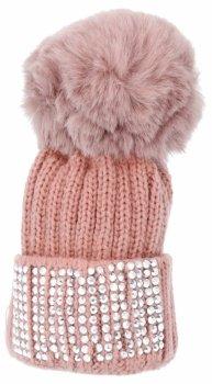 Kľúčenka na tašky módne klobúk s kamienkami ružové