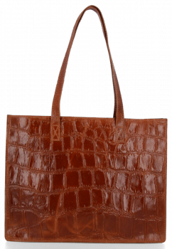 Vittoria Gotti klasická Kožená taška v módnej korytnačke tému hnedá