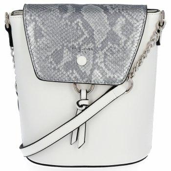 Módne dámske tašky messenger s hadím vzorom David Jones biela