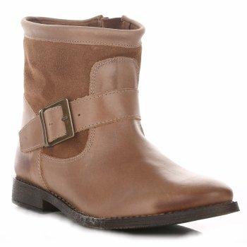 Dámske hnedé kožené členkové topánky